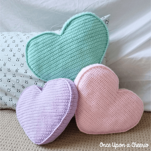 Candy Heart Pillow Crochet Pattern by Once Upon A Cheerio