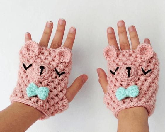 Crochet Bear Fingerless Gloves Pattern by Hello Happy