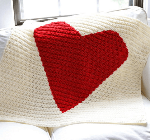 Crochet Big Heart Blanket Pattern by Crochet Spot Patterns