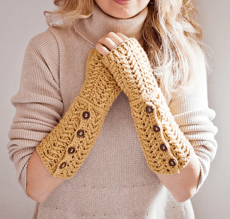 Crochet Buttoned Fingerless Gloves Pattern by Mon Petit Violon