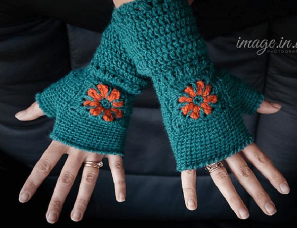 Crochet Flower Fingerless Gloves Pattern by Melody's Makings