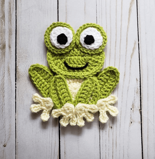 Crochet Frog Applique Pattern by The Yarn Conspiracy
