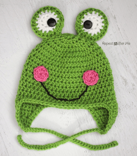 Crochet Frog Hat Pattern by Repeat Crafter Me