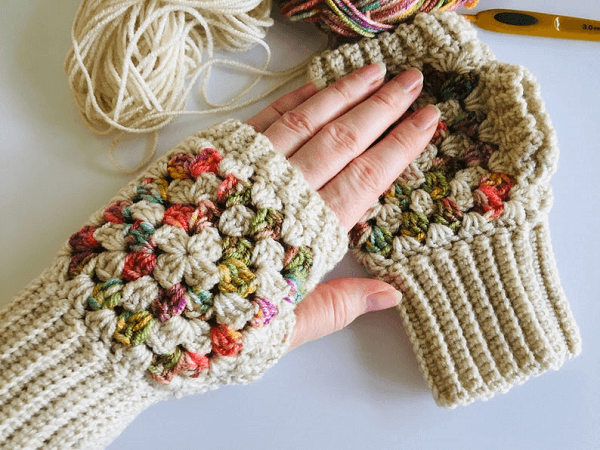 Crochet Granny Square Fingerless Gloves Pattern by Lullaby Lodge