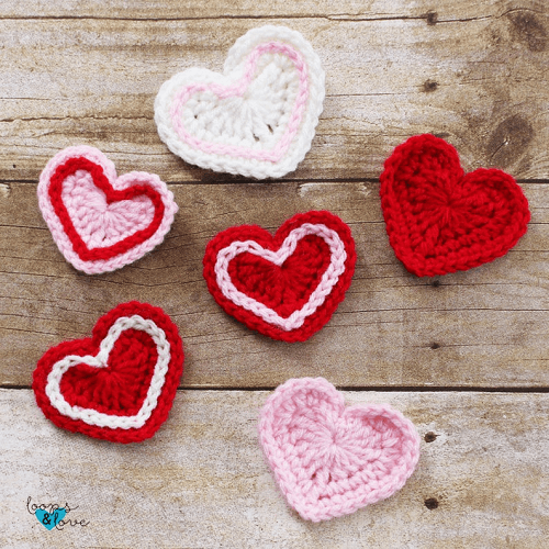 Crochet Heart Applique Pattern by Loops And Love Crochet