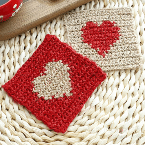 Crochet Heart Coasters Pattern by Craft Passion