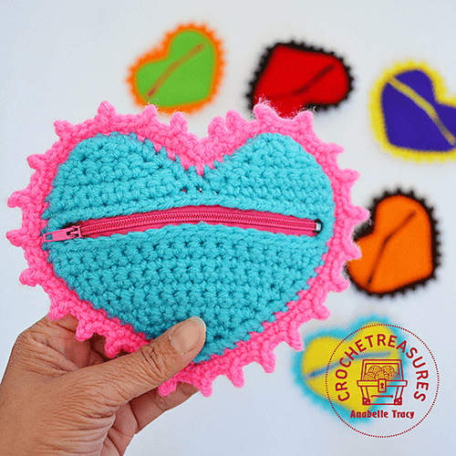 Crochet Heart Coin Purse Pattern by Crochet Treasures