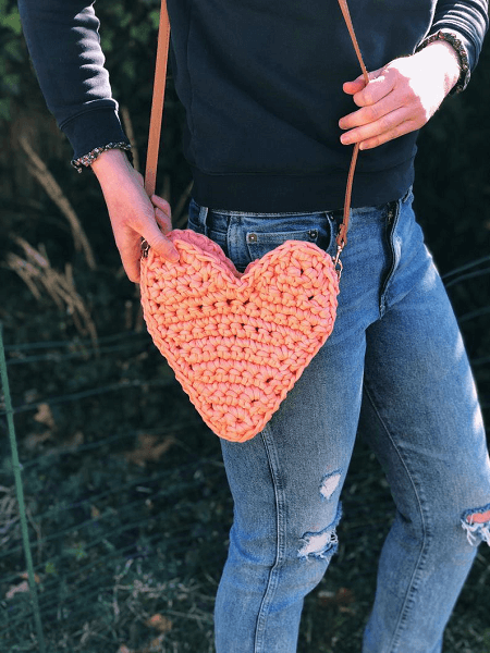Crochet Heart Tote Bag Pattern by Crochet By Colleen US