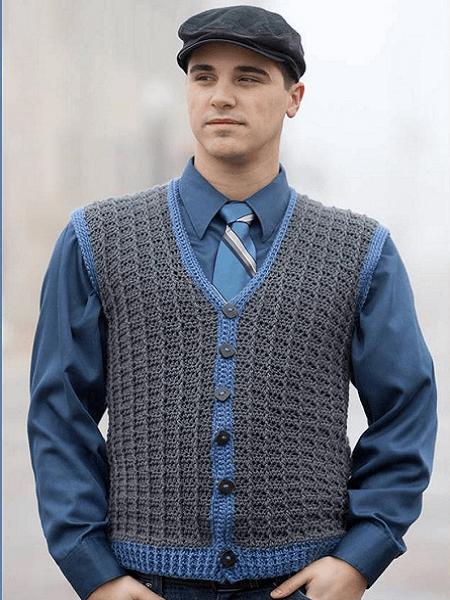 Crochet Man Vest Pattern by Yarnutopia