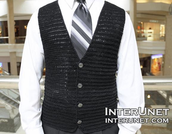 Crochet Men's Vest Jacket Pattern by Interunet