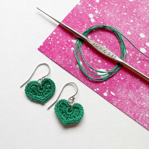 Crochet Micro Heart Earrings Pattern by Yarn Punk