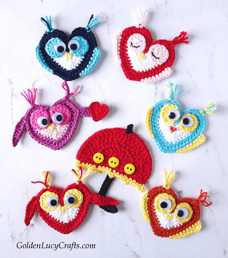 Crochet Owl Applique Pattern by Golden Lucy Crafts
