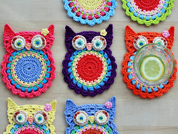 Crochet Owl Coasters Pattern by Zoom Yummy