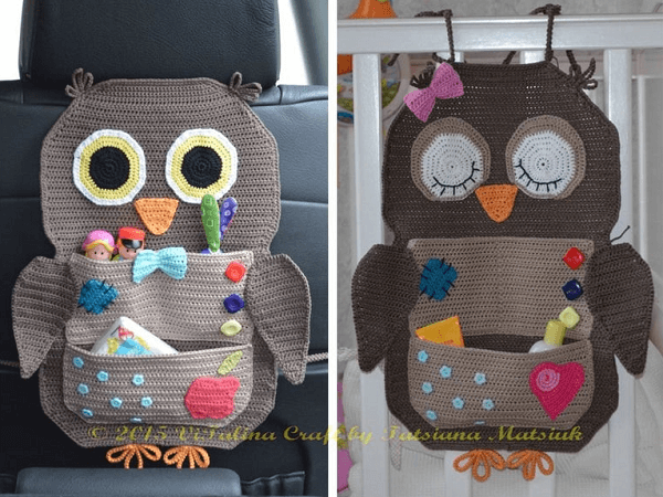 Crochet Owl Organizer Pattern by Vi Talina Craft