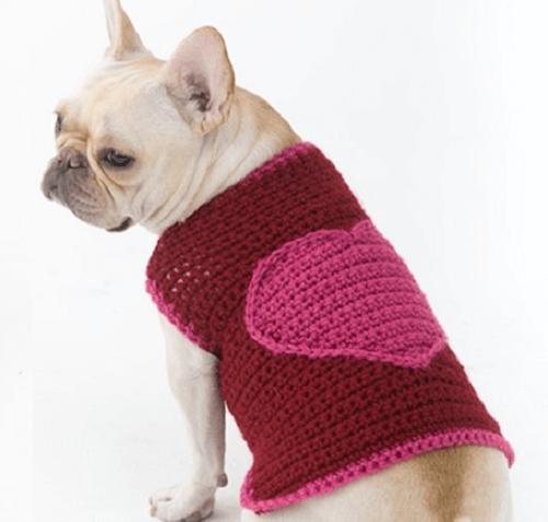 crochet romantic dog sweater pattern by crochet space
