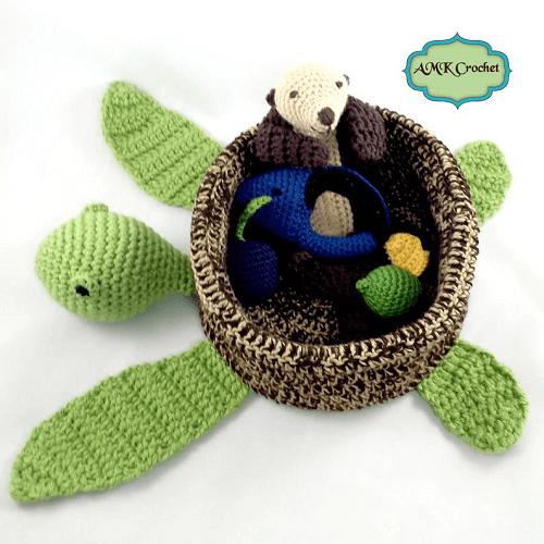Crochet Sea Turtle Basket Pattern by AMK Crochet