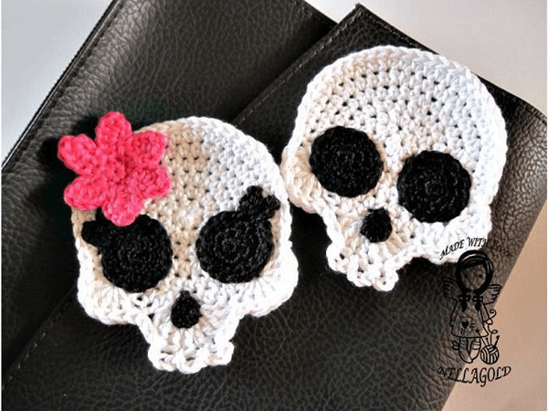 Applique Crochet Skull Pattern by Nellagold's Crocheting