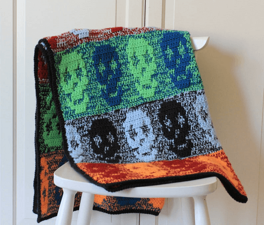Crochet Skull Blanket Pattern by Knot Yourself Out