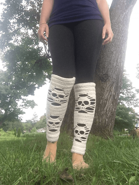 Leg Warmers Crochet Skull Pattern by Lovin You Homemade