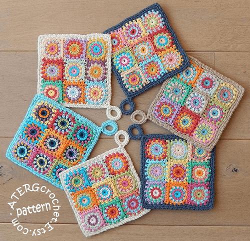 Crochet Squares Potholder Pattern by Aterg Crochet
