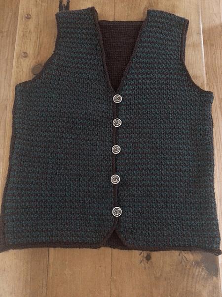 Crochet Tunisian Vest For Men Pattern by Kathleen Power Johnson