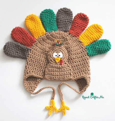 Crochet Turkey Hat Pattern by Repeat Crafter Me