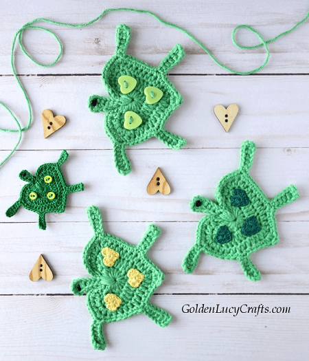 Crochet Turtle Applique Pattern by Golden Lucy Crafts