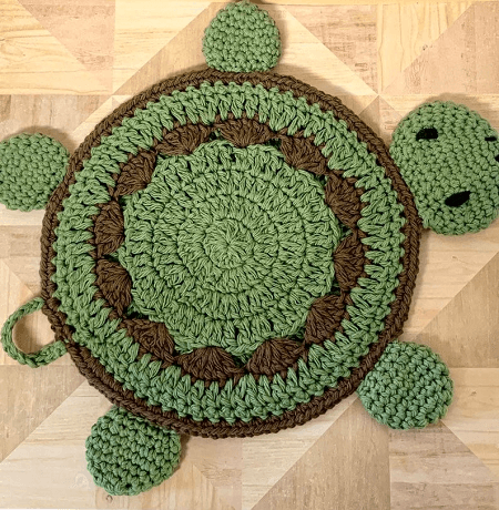 Crochet Turtle Potholder Pattern by Soft Strings Gift Shop