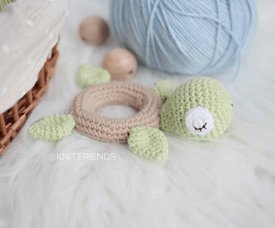 Crochet Turtle Teether Ring Pattern by Toys By Knit Friends