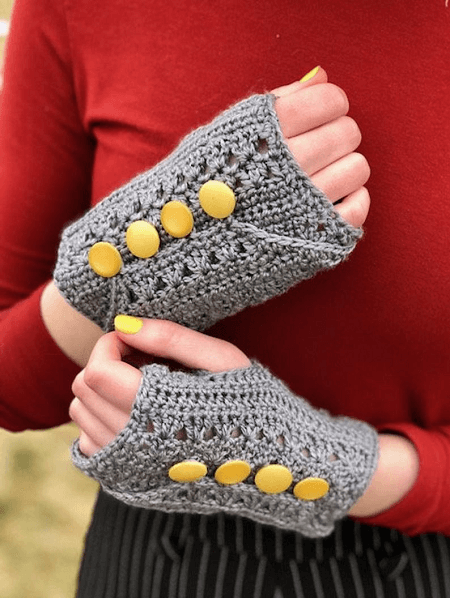 Crochet Unique Fingerless Gloves Pattern by Joys In Stitches