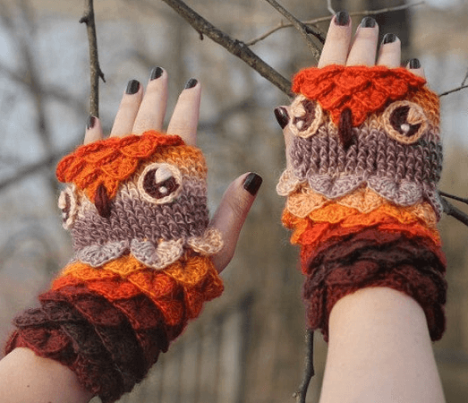 Crocodile Stitch Owl Gloves Crochet Pattern by Bonita Patterns