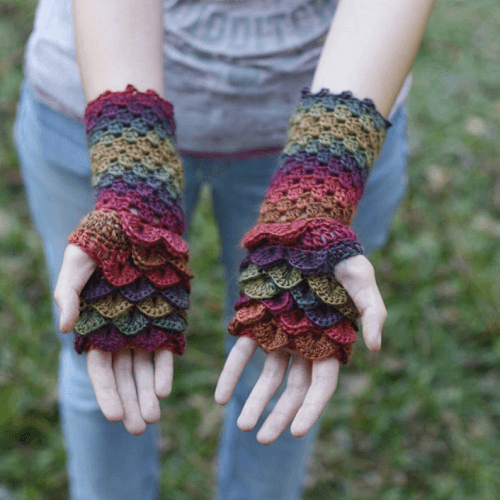 Dragon Scales Fingerless Gloves Crochet Pattern by Psychedelic Doilies