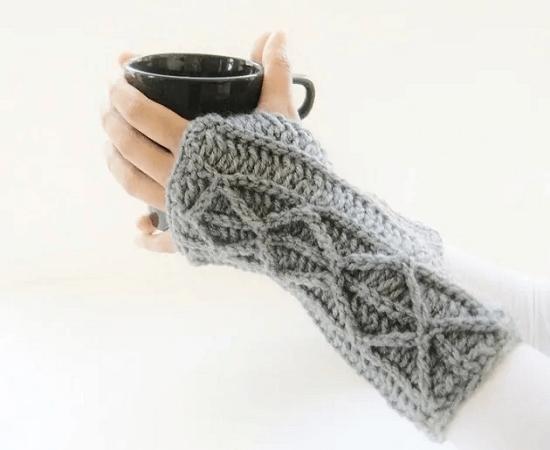 Faux Cable Fingerless Gloves Crochet Pattern by Crochet Dreamz