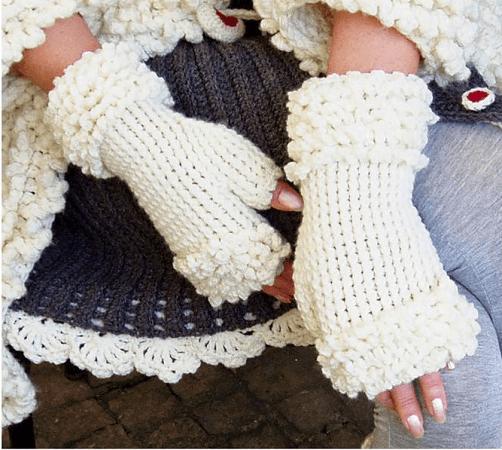 Fingerless Fur Gloves Crochet Pattern by PDF Pattern Design