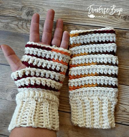 Fingerless Gloves Free Crochet Pattern by Traverse Bay Crochet