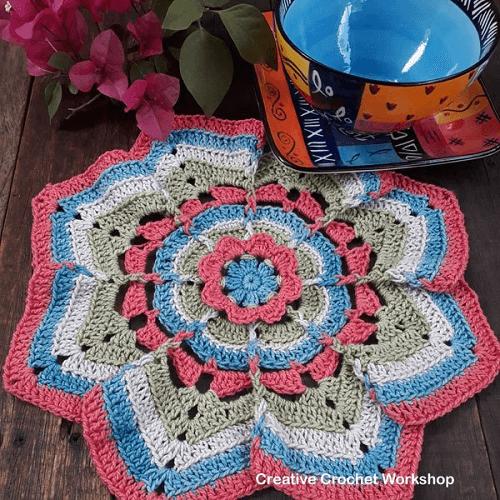 Flower Burst Potholder Crochet Pattern by Creative Crochet Workshop
