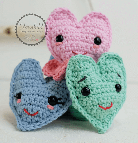 Free Crochet Heart Pattern by Yarnhild