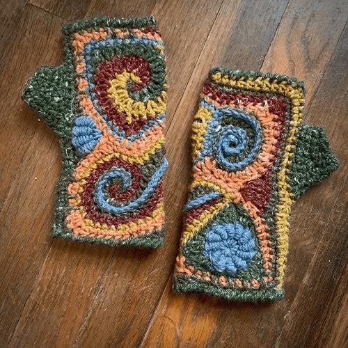 Freeform Crochet Fingerless Gloves Pattern by Of Mars