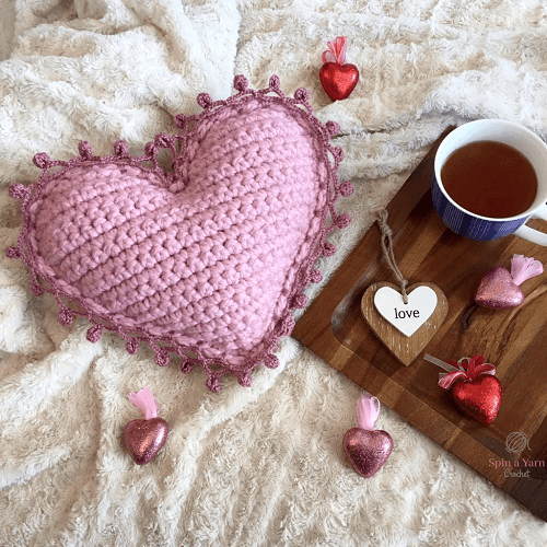 Heart Pillow Crochet Pattern by Spin A Yarn Crochet
