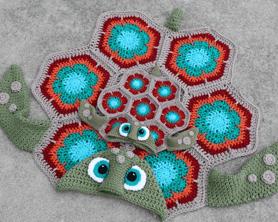 Hooded Turtle Blanket Crochet Pattern by MJs Off The Hook Designs