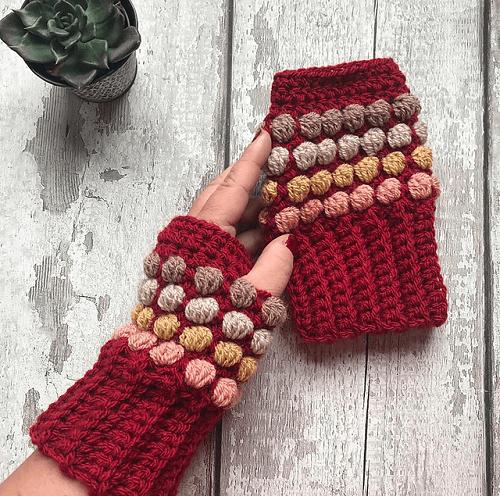 Horizon Fingerless Gloves Crochet Pattern by Little Golden Nook