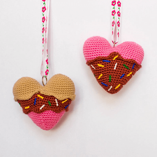 Ice Cream Heart Crochet Pattern by Inspired Crochet Toys