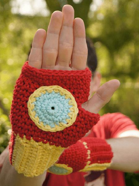 Iron Man Fingerless Gloves Crochet Pattern by Louis Mensinger