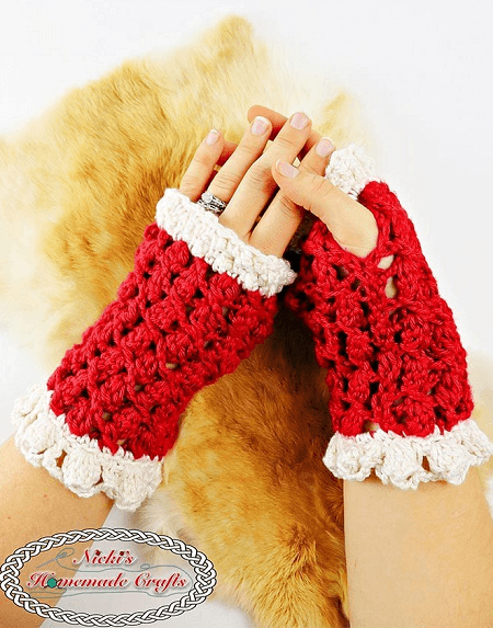 Lacy Silk Fingerless Gloves Crochet Pattern by Nicki's Homemade Crafts