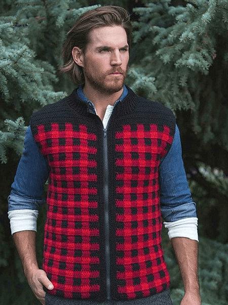 Men's Plaid Zipper Vest Crochet Pattern by A Crocheted Simplicity