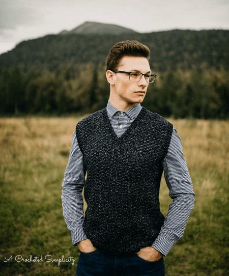 Men's Sweater Vest Crochet Pattern by A Crocheted Simplicity