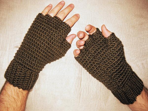 Men's Thermal Fingerless Gloves Crochet Pattern by Kickin Crochet