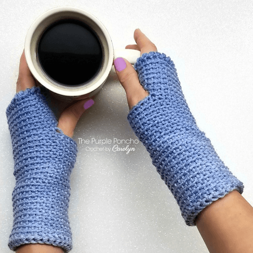 Ombre Fingerless Gloves Crochet Pattern by The Purple Poncho