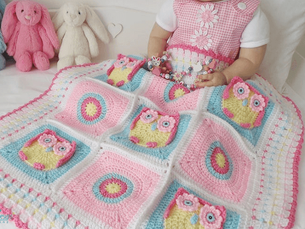 Owl Baby Blanket Crochet Pattern by Kerry Jayne Designs