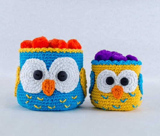 Owl Crochet Baskets Pattern by One And Two Company